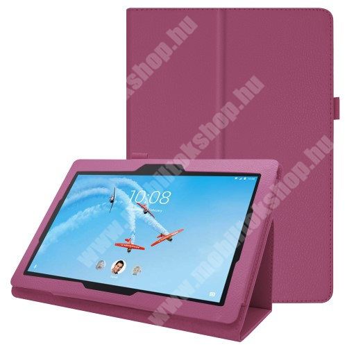Notesz tok / mappa tok - LILA - asztali tartó funkciós, oldalra nyíló, tolltartó, műbőr belső - Lenovo Tab E10