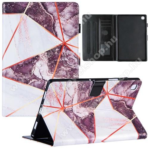 Notesz tok / mappa tok - LILA / FEHÉR MÁRVÁNY MINTÁS - asztali tartó funkciós, oldalra nyíló, mágneses záródás, bankkártyatartó zsebekkel, szilikon belső - SAMSUNG Galaxy Tab A7 10.4 (2020) (SM-T500/SM-T505)
