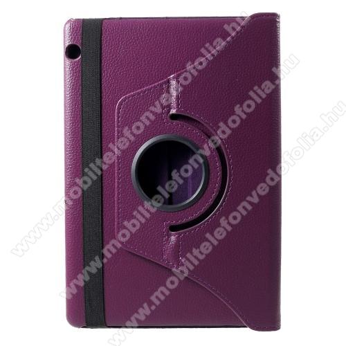 HUAWEI MediaPad T5 10Notesz tok / mappa tok - LILA - gumis záródás, asztali tartó funkcióval, 360°-ban elforgatható, műanyag belső - HUAWEI MediaPad T5 10
