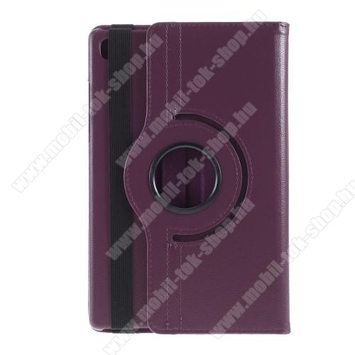Notesz tok/ mappa tok - LILA - gumis záródás, asztali tartó funkcióval, 360°-ban elforgatható, műanyag belső - SAMSUNG Galaxy Tab A7 10.4 (2020) (SM-T500/SM-T505)