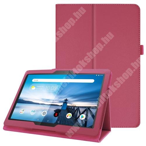 Notesz tok / mappa tok - MAGENTA - asztali tartó funkciós, oldalra nyíló, tolltartó, műbőr belső - Lenovo Tab P10 (TB-X705F)