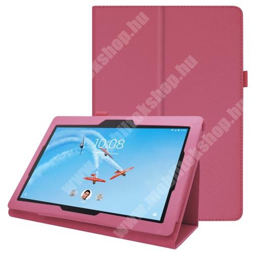 Notesz tok / mappa tok - MAGENTA - asztali tartó funkciós, oldalra nyíló, tolltartó, műbőr belső - Lenovo Tab E10