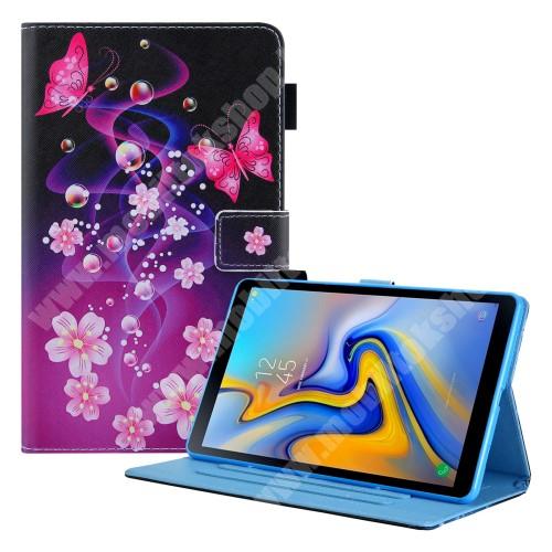 Notesz tok / mappa tok - PILLANGÓ / VIRÁG MINTÁS - asztali tartó funkciós, oldalra nyíló, bankkártyatartó zsebekkel, ceruzatartó, szilikon belső - SAMSUNG Galaxy Tab A7 Lite (SM-T220 / SM-T225)