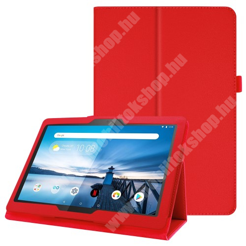 Notesz tok / mappa tok - PIROS - asztali tartó funkciós, oldalra nyíló, tolltartó, műbőr belső - Lenovo Tab P10 (TB-X705F)