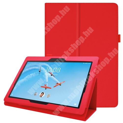 Notesz tok / mappa tok - PIROS - asztali tartó funkciós, oldalra nyíló, tolltartó, műbőr belső - Lenovo Tab E10