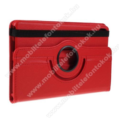 Notesz tok / mappa tok - PIROS - gumis záródás, asztali tartó funkcióval, 360°-ban elforgatható, műanyag belső - HUAWEI MediaPad M6 8.4