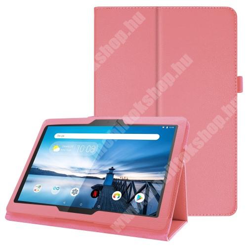 Notesz tok / mappa tok - RÓZSASZÍN - asztali tartó funkciós, oldalra nyíló, tolltartó, műbőr belső - Lenovo Tab P10 (TB-X705F)