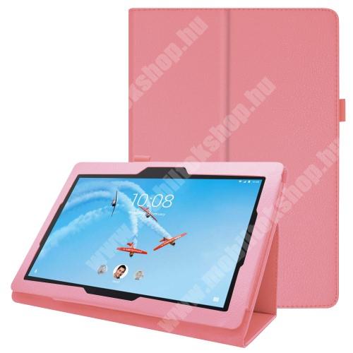 Notesz tok / mappa tok - RÓZSASZÍN - asztali tartó funkciós, oldalra nyíló, tolltartó, műbőr belső - Lenovo Tab E10