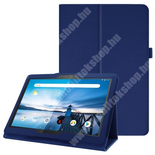 Notesz tok / mappa tok - SÖTÉTKÉK - asztali tartó funkciós, oldalra nyíló, tolltartó, műbőr belső - Lenovo Tab P10 (TB-X705F)