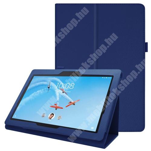 Notesz tok / mappa tok - SÖTÉTKÉK - asztali tartó funkciós, oldalra nyíló, tolltartó, műbőr belső - Lenovo Tab E10