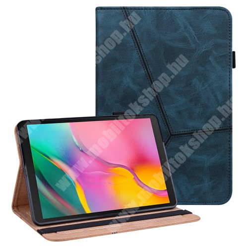 Notesz tok / mappa tok - SÖTÉTKÉK - asztali tartó funkciós, oldalra nyíló, gumis záródás, tolltartó, szilikon belső, kártya és ceruzatartó - SAMSUNG Galaxy Tab A 10.1 Wi-Fi (2019) (SM-T510) / Galaxy Tab A 10.1 LTE (2019) (SM-T515)