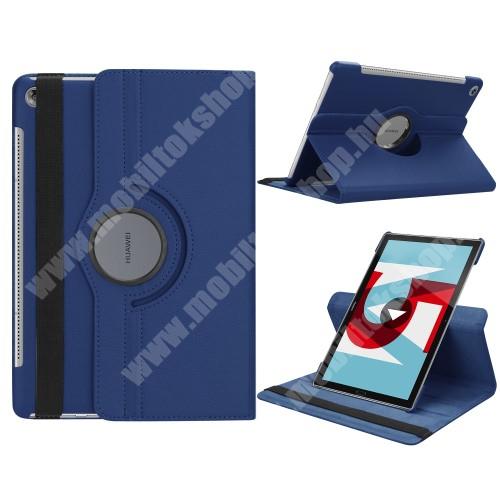 Notesz tok/ mappa tok - SÖTÉTKÉK - gumis záródás, asztali tartó funkcióval, 360°-ban elforgatható - HUAWEI MediaPad M5 10 (2018) / HUAWEI MediaPad M5 10 Pro (2018)