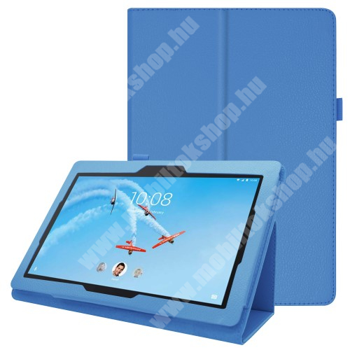 Notesz tok / mappa tok - VILÁGOSKÉK - asztali tartó funkciós, oldalra nyíló, tolltartó, műbőr belső - Lenovo Tab E10