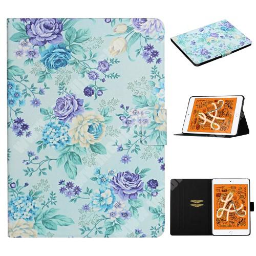 Notesz tok / mappa tok - VIRÁG MINTÁS - asztali tartó funkciós, oldalra nyíló, rejtett mágneses záródás, bankkártyatartó zsebekkel, szilikon belső - APPLE iPad Mini / 2 / 3 / 4 / iPad mini (2019)