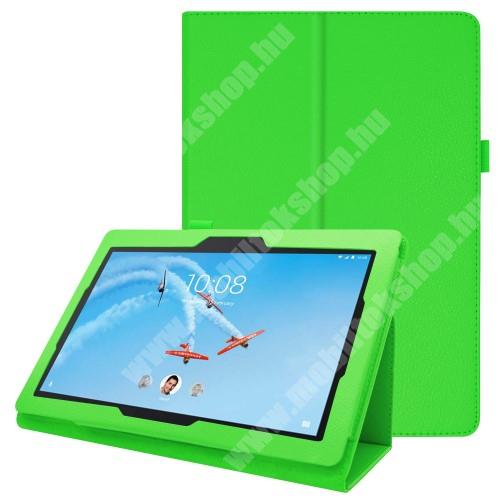 Notesz tok / mappa tok - ZÖLD - asztali tartó funkciós, oldalra nyíló, tolltartó, műbőr belső - Lenovo Tab E10