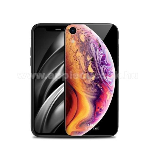 NXE szilikon védő keret / hátlap védő edzett üveg - BOLYGÓ MINTÁS - APPLE iPhone Xr - GYÁRI