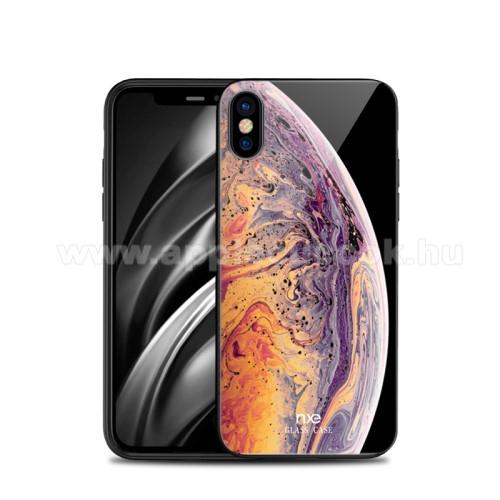 NXE szilikon védő keret / hátlap védő edzett üveg - BOLYGÓ MINTÁS - APPLE iPhone XS Max - GYÁRI