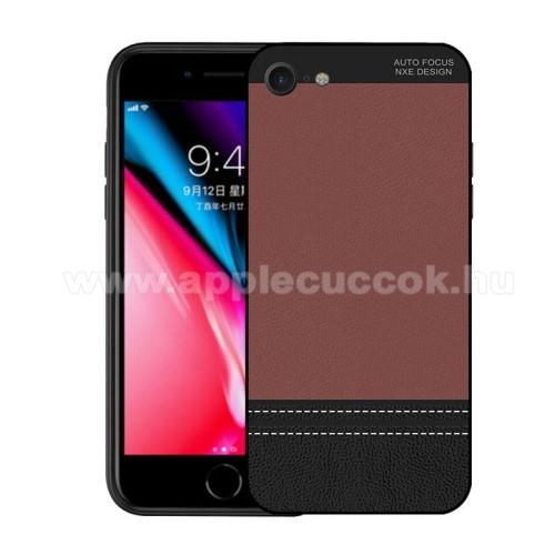 NXE szilikon védő tok / bõrhatású hátlap - ULTRAVÉKONY! - BARNA - APPLE iPhone 7 (4.7) / APPLE iPhone 8 (4.7)