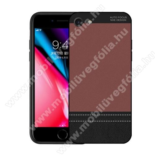 NXE szilikon védő tok / bõrhatású hátlap - ULTRAVÉKONY! - BARNA - APPLE iPhone SE (2020) / APPLE iPhone 7 / APPLE iPhone 8