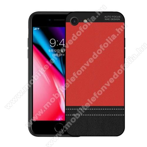 NXE szilikon védő tok / bõrhatású hátlap - ULTRAVÉKONY! - PIROS - APPLE iPhone SE (2020) / APPLE iPhone 7 / APPLE iPhone 8