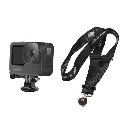 Nyakpánt GoPro Hero 9-hez - gyorskioldó csat, állítható 60cm ~ 38cm - FEKETE