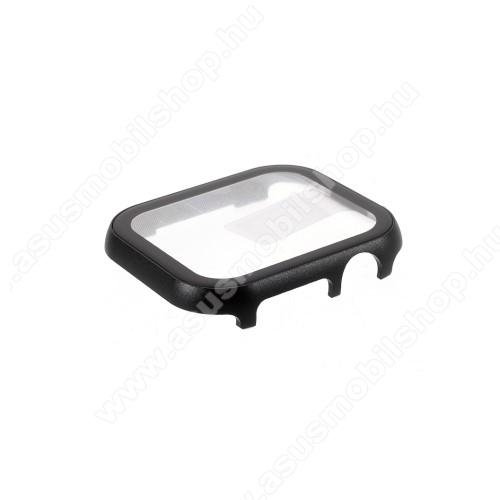 Okosóra alumínium védő keret - 9H edzett üveg előlap védő is! - FEKETE - APPLE Watch Series 4 / 5 / 6 / SE 44mm