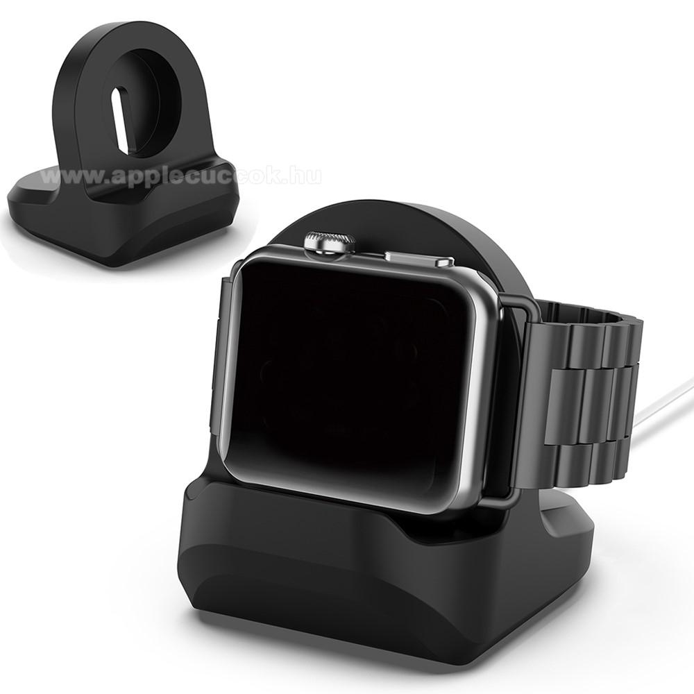 APPLE Watch Series 6 44mmOkosóra asztali töltő állvány / dokkoló - szilikon, kábelelvezető, 60 x 56 x 45mm, a töltő NEM TARTOZÉK! - FEKETE - Apple Watch Series 1 / 2 / 3 / 4