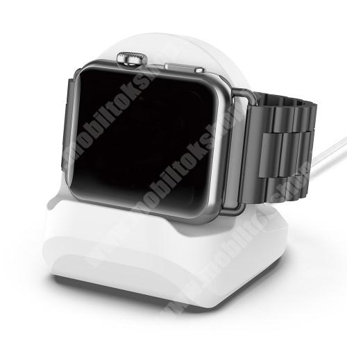 Okosóra asztali töltő állvány / dokkoló - szilikon, kábelelvezető, 60 x 56 x 45mm, a töltő NEM TARTOZÉK! - FEHÉR - Apple Watch Series 1 / 2 / 3 / 4