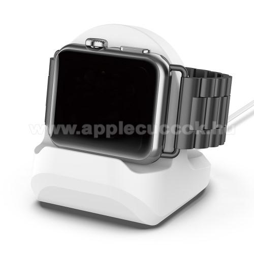 APPLE Watch Series 2 38mmOkosóra asztali töltő állvány / dokkoló - szilikon, kábelelvezető, 60 x 56 x 45mm, a töltő NEM TARTOZÉK! - FEHÉR - Apple Watch Series 1 / 2 / 3 / 4