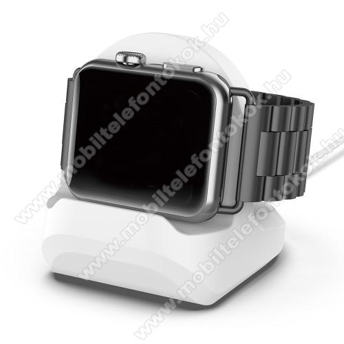 APPLE Watch Series 6 44mmOkosóra asztali töltő állvány / dokkoló - szilikon, kábelelvezető, 60 x 56 x 45mm, a töltő NEM TARTOZÉK! - FEHÉR - Apple Watch Series 1 / 2 / 3 / 4