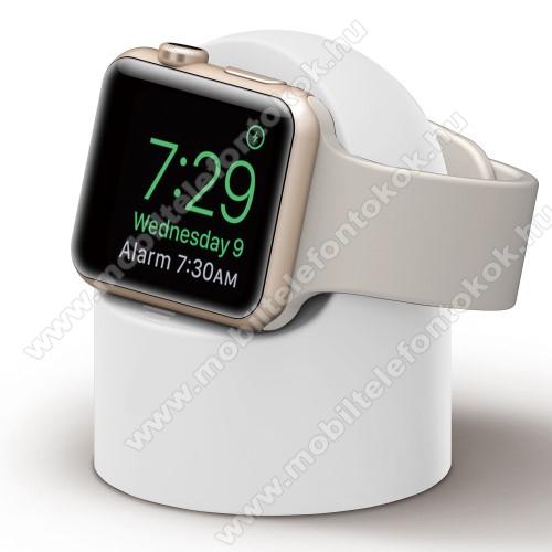 Okosóra asztali töltő állvány / dokkoló - szilikon, kábelelvezető, a töltő NEM TARTOZÉK! - FEHÉR - Apple Watch Series 1 / 2 / 3 / 4