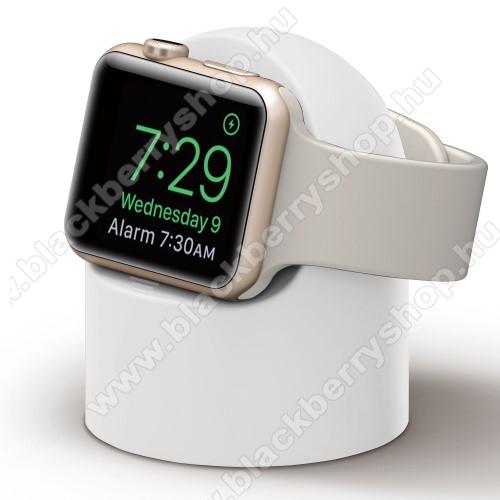 Okosóra asztali töltő állvány / dokkoló - szilikon, kábelelvezető, a töltő NEM TARTOZÉK! - FEHÉR - Apple Watch Series 1 / 2 / 3 / 4 / 5 / 6 / SE