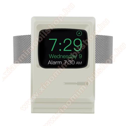 Okosóra asztali töltő állvány / dokkoló - szilikon, kábelelvezető, a töltő NEM TARTOZÉK! - MACINTOSH MINTA - FEHÉR - Apple Watch Series 1 / 2 / 3 / 4 / 5