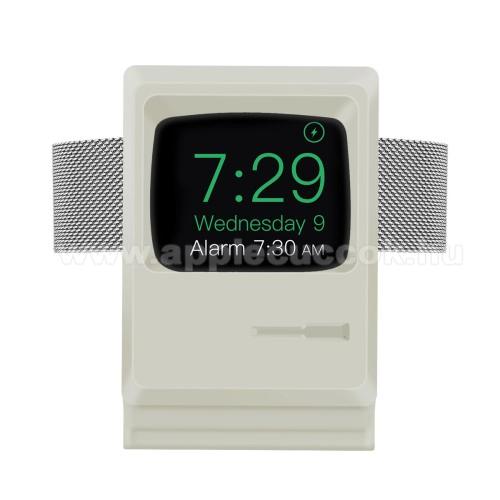 APPLE Watch Series 3 42mmOkosóra asztali töltő állvány / dokkoló - szilikon, kábelelvezető, a töltő NEM TARTOZÉK! - MACINTOSH MINTA - FEHÉR - Apple Watch Series 1 / 2 / 3 / 4 / 5