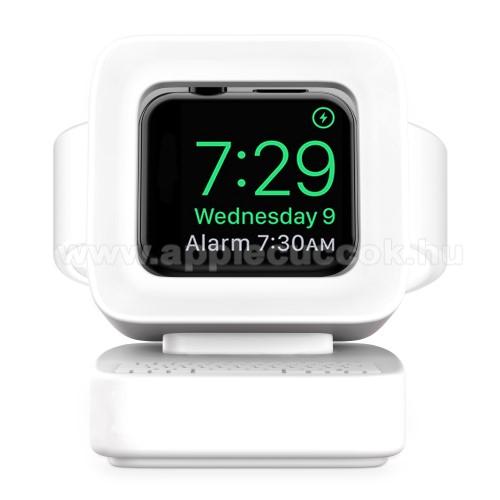 Apple Watch Series 5 44mmOkosóra asztali töltő állvány / dokkoló - szilikon, kábelelvezető, a töltő NEM TARTOZÉK! - MACINTOSH MINTA - FEHÉR - Apple Watch Series 1 / 2 / 3 / 4 / 5