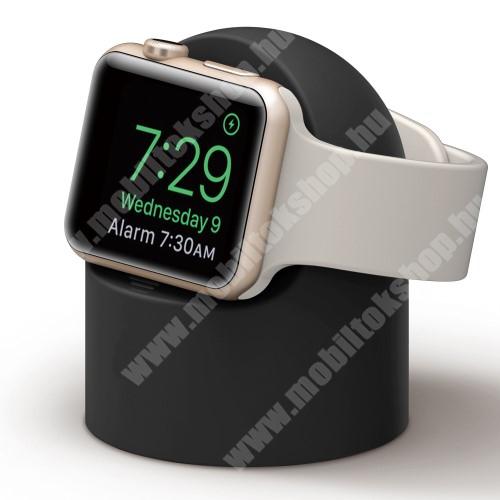 Okosóra asztali töltő állvány / dokkoló - szilikon, kábelelvezető, a töltő NEM TARTOZÉK! - FEKETE - Apple Watch Series 1 / 2 / 3 / 4 / 5 / 6 / SE