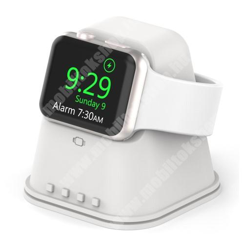 Okosóra asztali töltő állvány / dokkoló - szilikon, csúszásgátló, kábelelvezető, 60x60x62mm, a töltő NEM TARTOZÉK! - FEHÉR - Apple Watch Series 1 / 2 / 3 / 4 / 5