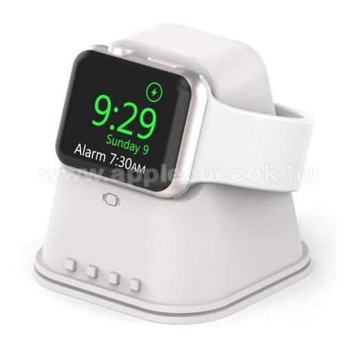 APPLE Watch Series 6 44mmOkosóra asztali töltő állvány / dokkoló - szilikon, csúszásgátló, kábelelvezető, 60x60x62mm, a töltő NEM TARTOZÉK! - FEHÉR - Apple Watch Series 1 / 2 / 3 / 4 / 5