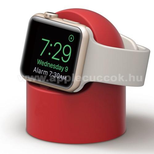 APPLE Watch Series 6 44mmOkosóra asztali töltő állvány / dokkoló - szilikon, kábelelvezető, a töltő NEM TARTOZÉK! - PIROS - Apple Watch Series 1 / 2 / 3 / 4 / 5 / 6 / SE