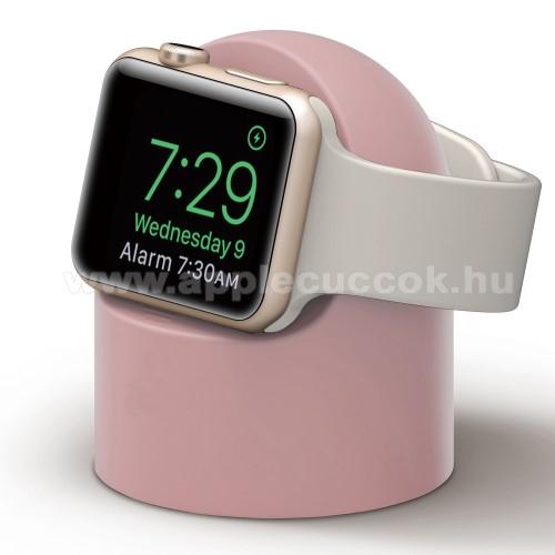 APPLE Watch Series 6 44mmOkosóra asztali töltő állvány / dokkoló - szilikon, kábelelvezető, a töltő NEM TARTOZÉK! - RÓZSASZÍN - Apple Watch Series 1 / 2 / 3 / 4 / 5 / 6 / SE