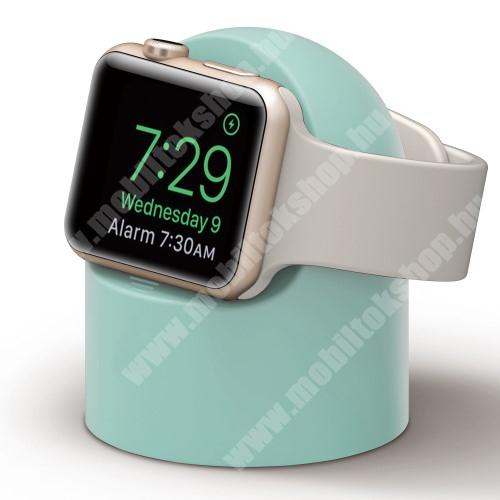 Okosóra asztali töltő állvány / dokkoló - szilikon, kábelelvezető, a töltő NEM TARTOZÉK! - ZÖLD - Apple Watch Series 1 / 2 / 3 / 4 / 5 / 6 / SE