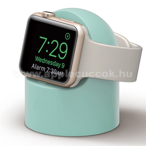 Apple Watch Series 5 44mmOkosóra asztali töltő állvány / dokkoló - szilikon, kábelelvezető, a töltő NEM TARTOZÉK! - ZÖLD - Apple Watch Series 1 / 2 / 3 / 4 / 5 / 6 / SE