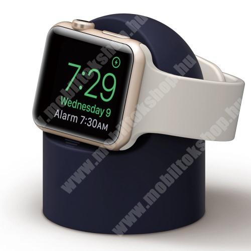 Okosóra asztali töltő állvány / dokkoló - szilikon, kábelelvezető, a töltő NEM TARTOZÉK! - SÖTÉTKÉK - Apple Watch Series 1 / 2 / 3 / 4 / 5 / 6 / SE