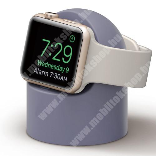 Okosóra asztali töltő állvány / dokkoló - szilikon, kábelelvezető, a töltő NEM TARTOZÉK! - VILÁGOSKÉK - Apple Watch Series 1 / 2 / 3 / 4 / 5 / 6 / SE