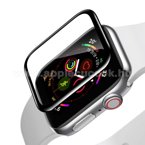 APPLE Watch Series 4 40mm Okos�ra BASEUS k�perny?v�d? f�lia - CLEAR - 1db, 0,2 mm v�kony - A TELJES EL?LAPOT V�DI! - FEKETE - APPLE Watch Series 4 40mm / Apple Watch Series 5 40mm - GY�RI