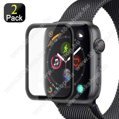 Okosóra előlap védő karcálló edzett üveg - 2db, 9H, 3D - A TELJES ELŐLAPOT VÉDI! - FEKETE - Apple Watch Series 4 40mm / Apple Watch Series 5 40mm