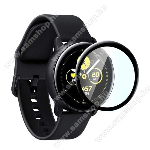 Okosóra előlap védő karcálló edzett üveg - 1db, 9H, 3D - A TELJES ELŐLAPOT VÉDI! - FEKETE - SAMSUNG Galaxy Watch Active2 40mm
