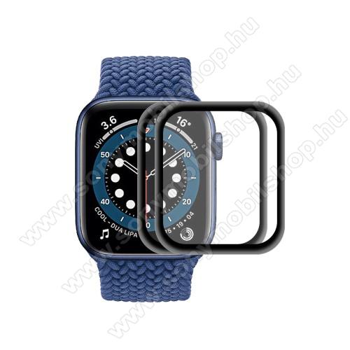 Okosóra előlap védő karcálló edzett üveg - 2db, 9H, 3D, alumínium fekete keret - A TELJES ELŐLAPOT VÉDI! - FEKETE - Apple Watch Series 6 / 5 / 4 / SE 44mm - GYÁRI