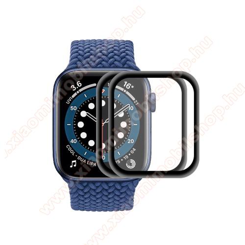 Okosóra előlap védő karcálló edzett üveg - 2db, 9H, 3D, alumínium fekete keret - A TELJES ELŐLAPOT VÉDI! - FEKETE - Apple Watch Series 6 / 5 / 4 / SE 40mm - GYÁRI