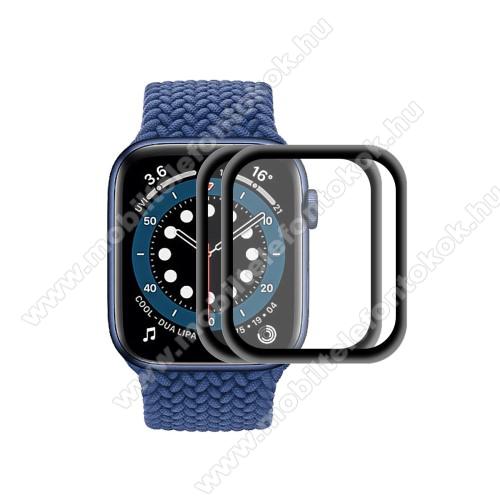 APPLE Watch Series 6 40mmOkosóra előlap védő karcálló edzett üveg - 2db, 9H, 3D, alumínium fekete keret - A TELJES ELŐLAPOT VÉDI! - FEKETE - Apple Watch Series 6 / 5 / 4 / SE 40mm - GYÁRI
